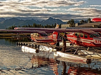 Guest float planes at dock in Anchorage waiting to depart to Wilderness Place Lodge