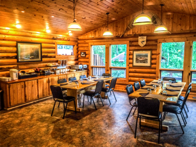 The main lodge dining room with seating capacity for 16 max guests.