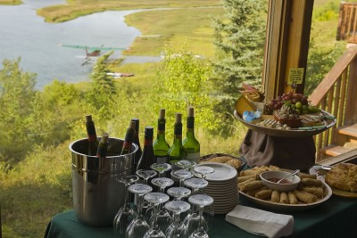 Appetizers in the lodge overlooking the river
