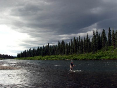 Fly fishing on Lake Creek, Alaska