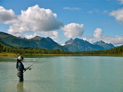 Redoubt Mountain Lodge fishing in an amazing Alaska setting