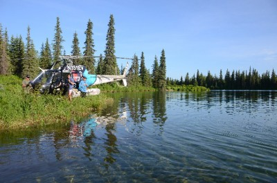 Aboard a helicopter, it only takes a few minutes to reach some of the richest fishing holes in this remote area