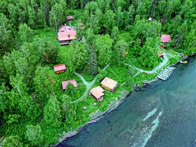 Aerial view of our Alaska fishing lodge on the banks of Lake Creek.